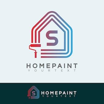 Huis verf begin letter s logo ontwerp