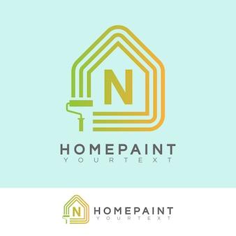 Huis verf eerste letter n logo ontwerp