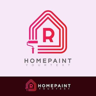 Huis verf initiaal letter r logo ontwerp