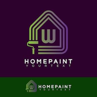 Huis verf initiaal letter w logo ontwerp