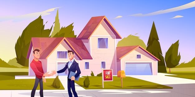Huis verkoop deal makelaar schud hand met huiseigenaar