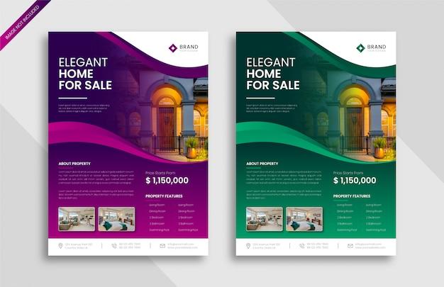 Huis verkoop onroerend goed flyer ontwerpsjabloon