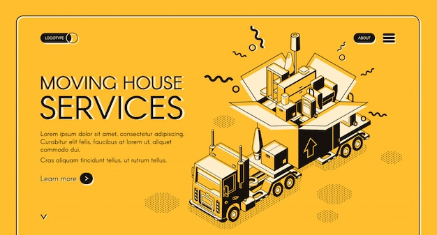 Huis verplaatsen en relocatie service isometrische webbanner