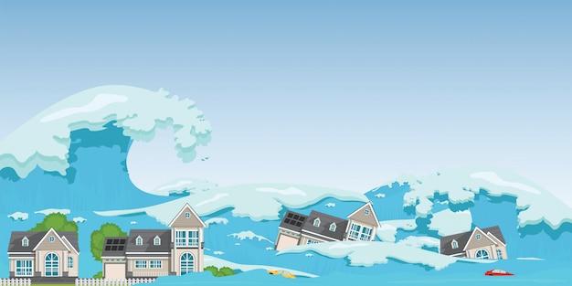 Huis verwoest door tsunami-golven.
