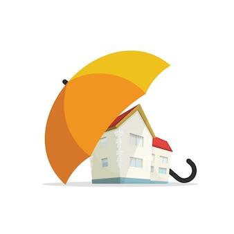 Huis verzekering concept, residentiële woning onroerend goed bescherming