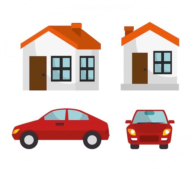 Huis verzekering huis auto bescherming ontwerp