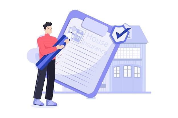 Huis verzekering illustratie