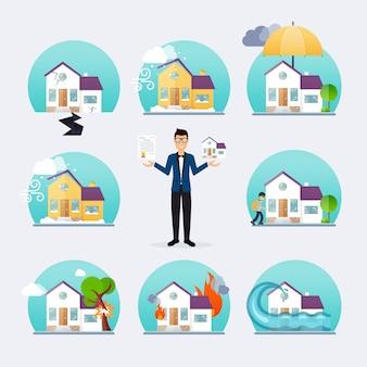 Huis verzekering zakelijke dienst pictogrammen sjabloon. inboedelverzekering. grote set huisverzekering. concept van verzekering.