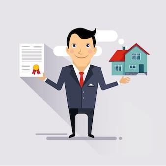 Huis verzekeringscontract illustratie
