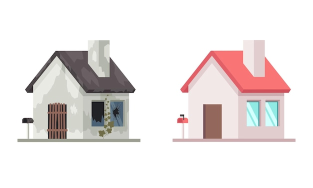 Huis voor en na reparatie. platte vectorillustratie geïsoleerd op witte achtergrond vector
