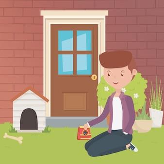 Huis voor mascotte en jongen cartoon ontwerp