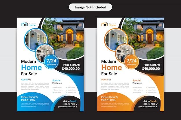 Huis voor verkoop onroerend goed flyer ontwerpsjabloon