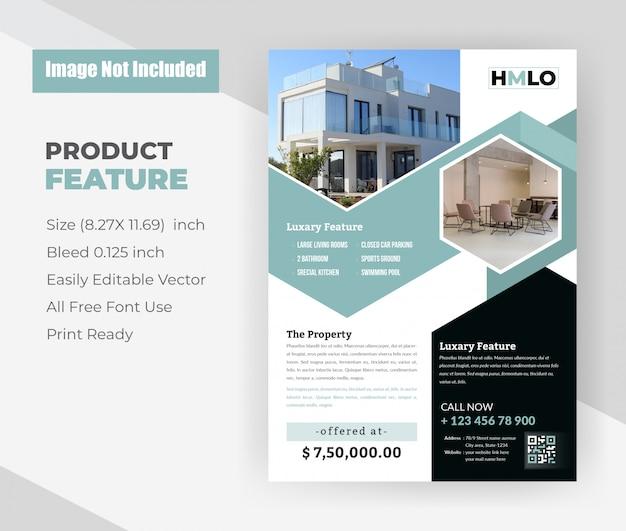 Huis voor verkoop onroerend goed flyer sjabloon