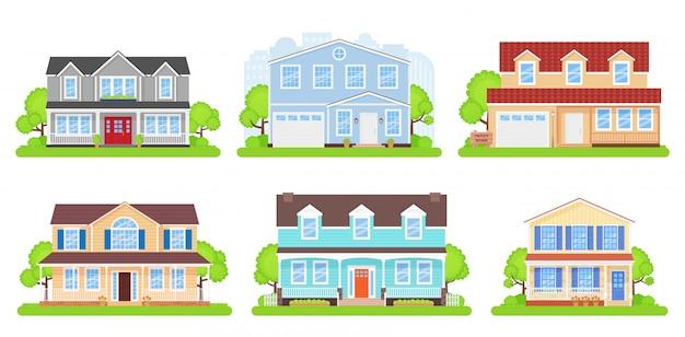 Huis voorzijde. vector illustratie.