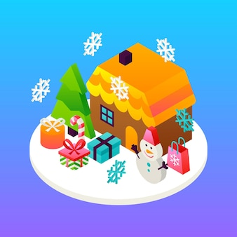 Huis wintervakantie concept. vectorillustratie van isometrie wenskaart. Premium Vector