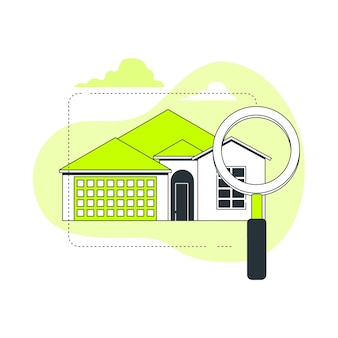 Huis zoeken concept illustratie