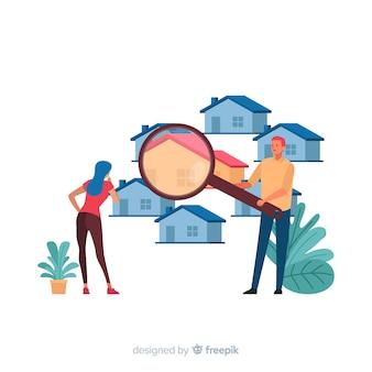 Huis zoeken concept voor bestemmingspagina
