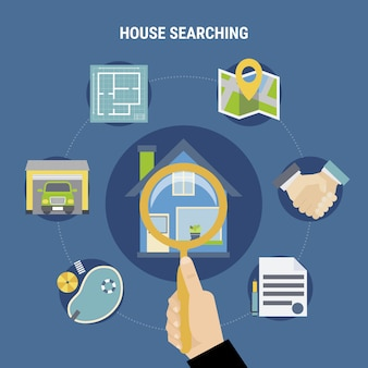 Huis zoeken concept