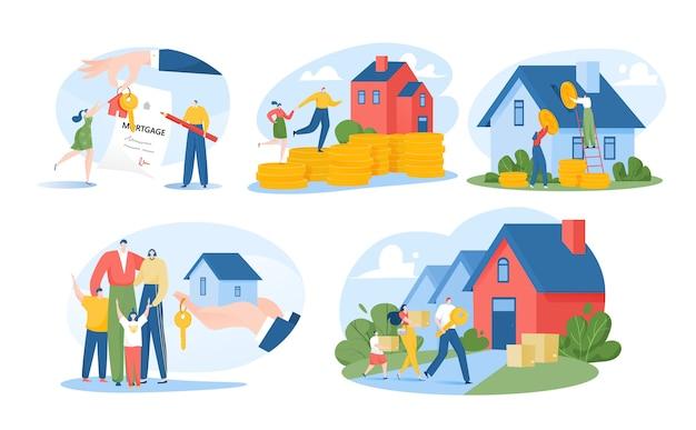 Huis zoeken geïsoleerd op witte illustraties set
