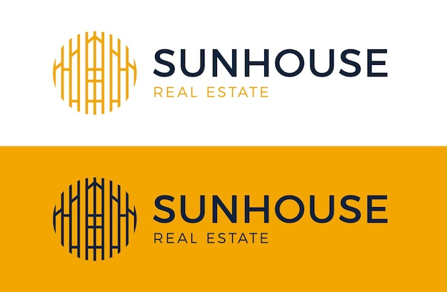 Huis zon logo. onroerend goed gebouw pictogram teken. zonne-huis symbool embleem in cirkel.