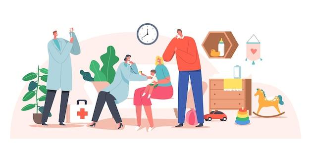 Huisarts kinderarts aan huis. neonatoloog bezoekt baby voor controle en vaccinatie. medic-personage onderzoekt ziek kind met mama en papa, medische afspraak. cartoon mensen vectorillustratie