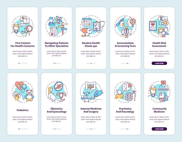 Huisarts onboarding mobiele app pagina scherm met concepten ingesteld