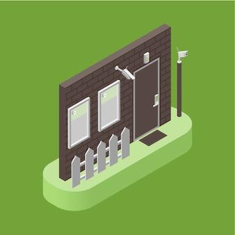 Huisbeveiliging, toegangscontrole en alarmsysteem isometrische illustratie. slim huisconcept.