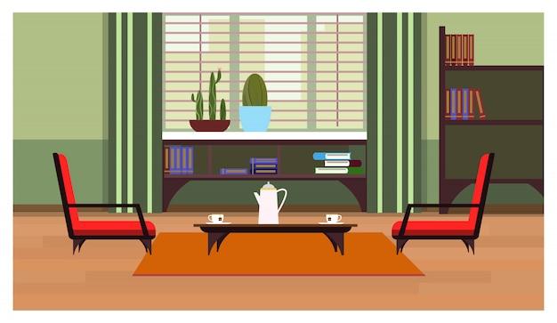 Huisbinnenland met koffietafel, venster en planken met boeken