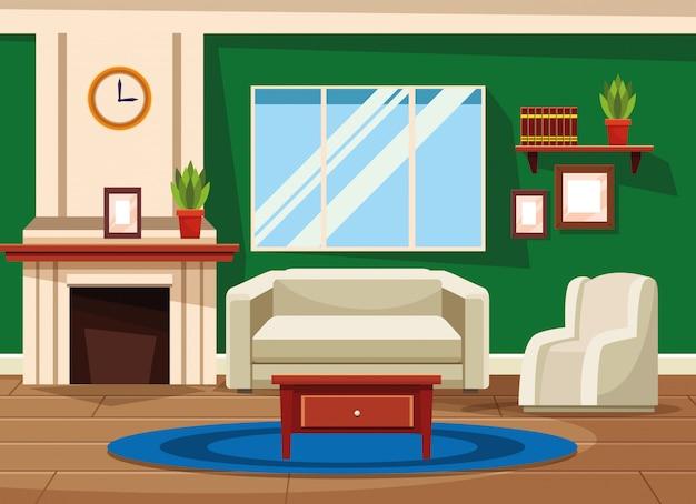 Huisbinnenland met meubilairlandschap
