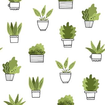 Huisbloemen in potten. vector naadloos patroon in krabbelstijl