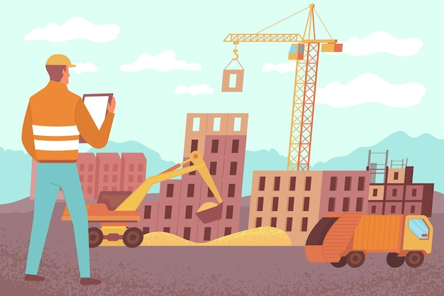 Huisbouw vrachtwagen kraan platte samenstelling met huizen op bouwplaats met kraanwagen en graafmachine