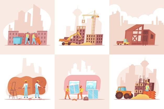 Huisbouwset van zes vierkante composities met platte afbeeldingen van flatgebouwen onder de illustratie van de afwerkingswerkzaamheden