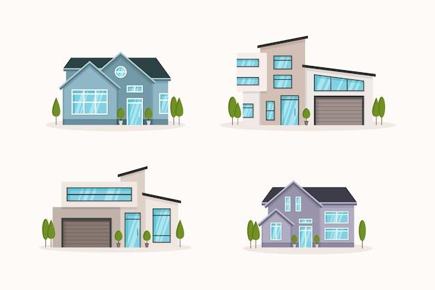 Huiscollectie in plat ontwerp