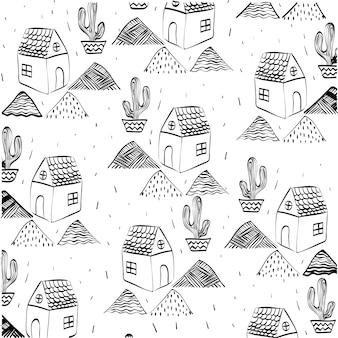 Huisconcept met cactus pictogram ontwerp