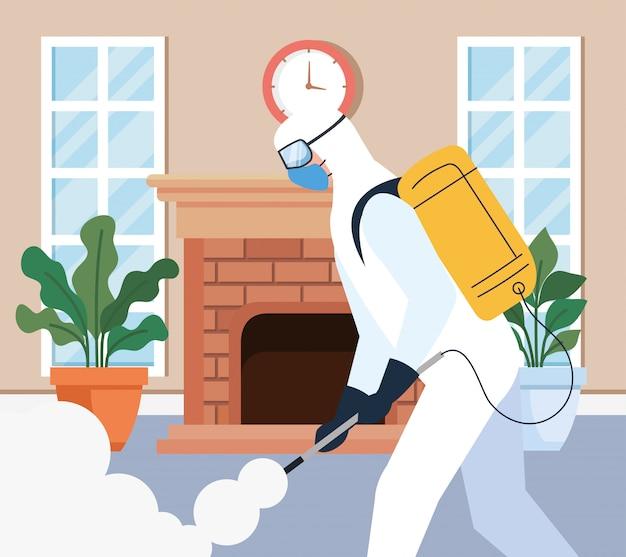 Huisdesinfectie door commerciële desinfectieservice, desinfectiemedewerker met beschermend pak en spray voorkomen covid 19