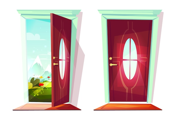 Huisdeur open en gesloten illustratie van ingang met mening over bloemen in straat