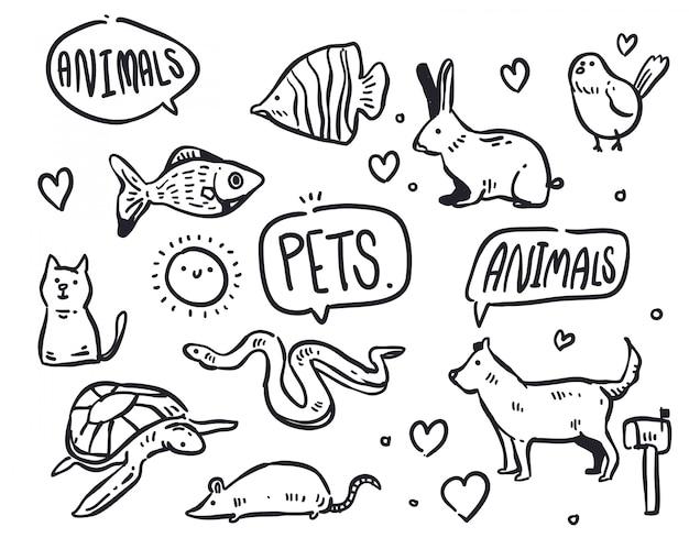 Huisdier doodle illustratie