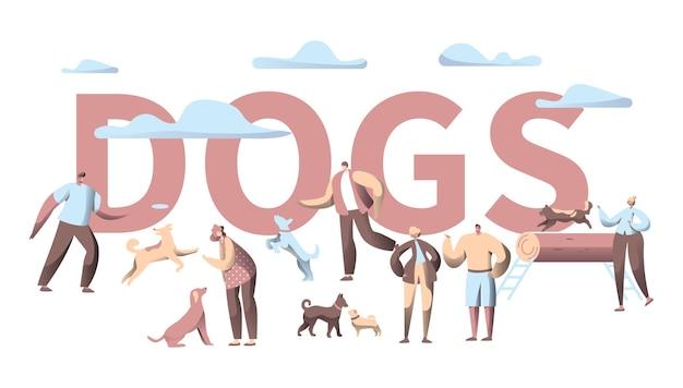 Huisdier hond typografie horizontale banner.