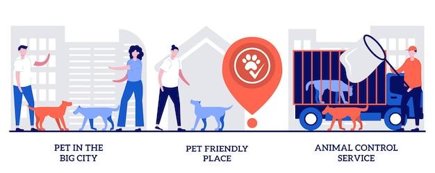 Huisdier in de grote stad, hondvriendelijke plek, serviceconcept voor dierencontrole met kleine mensen. huisdier eigendom abstracte vector illustratie set. wandelplaats, reddingsdienst, zwerfhonden en katten metafoor.