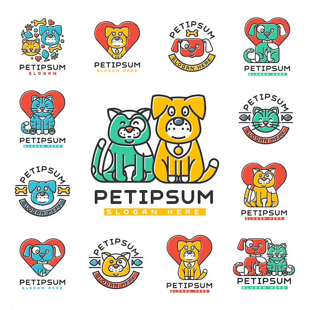 Huisdier kat en hond binnenlandse insignes silhouet veterinaire medische toevlucht opvangcentrum voor dakloze huisdieren dier element.