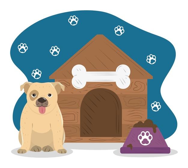 Huisdier klein hondenhok en kom met voedsel