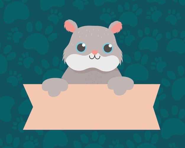 Huisdier schattige hamster met banner, dierlijk beeldverhaal binnenlandse vectorillustratie