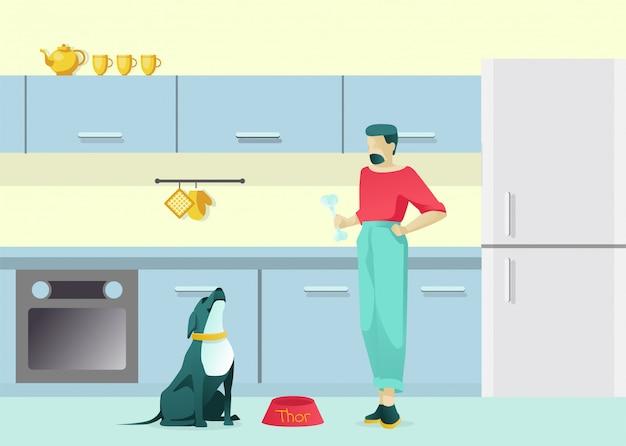 Huisdiereigenaar man character training dog with bone