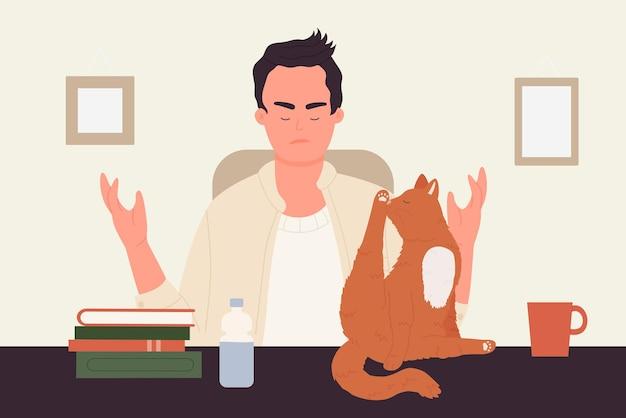 Huisdiereigenaar mensen en eigen dieren katten wassen likkende jonge man uitschelden grappige kat