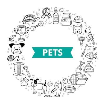 Huisdierelementen in doodle-stijl