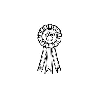 Huisdieren award rozet hand getrokken schets doodle pictogram. medaille met hondenvoetafdruk als winnaar van de tentoonstellingsconcept voor huisdieren