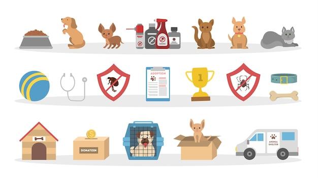 Huisdieren dierenarts pictogrammen instellen. honden en katten, speelgoed en medicijnen.