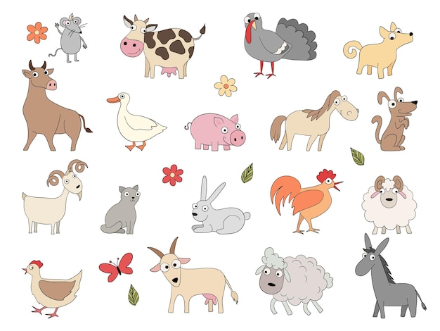 Huisdieren. leuke grappige boerderij paard varken kip eend bool en schapen vector kleurplaten tekening set. binnenlandse varken en geit, paard en kip illustratie