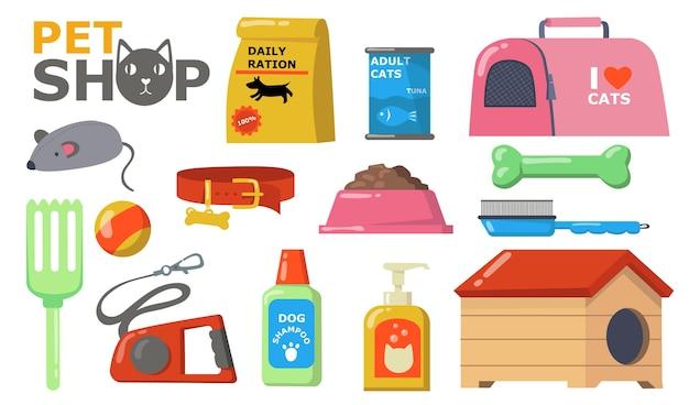 Huisdieren leveringen nat. voer en accessoires voor katten en honden verzorging, voerbak, halsband, borstel, speelgoed, riem, shampoo, blik, kennel. vectorillustratie voor dierenwinkel, huisdieren