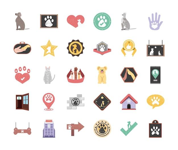 Huisdieren pictogrammenset